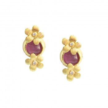 Brincos Dourados Pedra Hidrotermal Rosa - Flor