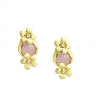 Brincos Dourados Pedra Hidrotermal Rosa Claro - Flor