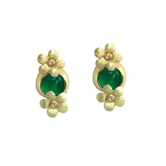 Brincos Dourados Pedra Hidrotermal Verde - Flor