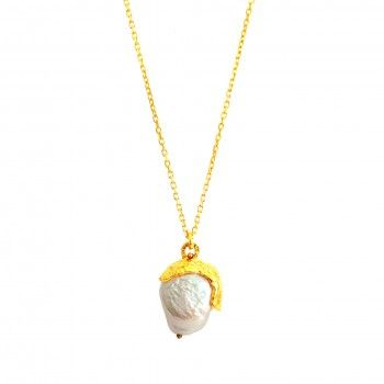 Golden Acorn Necklace - Natural Pearl