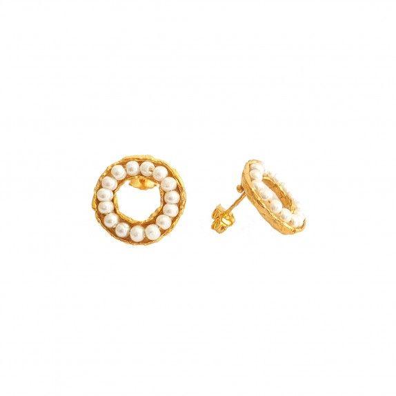 Brincos Dourados - Circulo de Pérolas