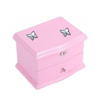 Caixa de Música Rosa - 2 Borboletas
