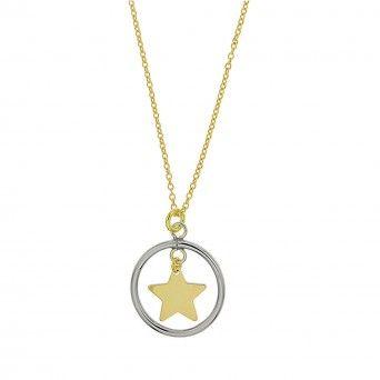 Colar Dourado Circulo Estrelado