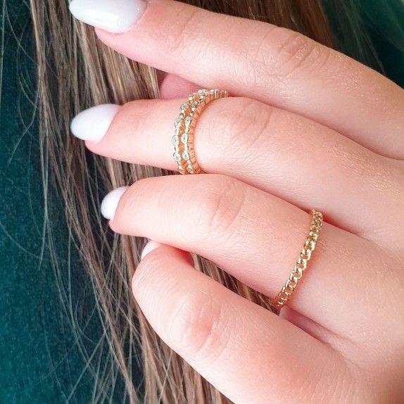 Anel Dourado Tripla Estrela