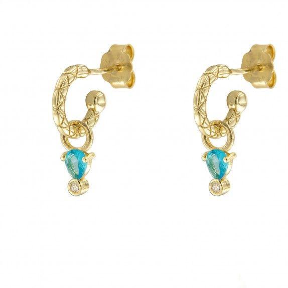 Argolas Douradas - Pedra Água Marinha