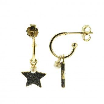 Argolas Douradas - Estrelas Zircónias Pretas